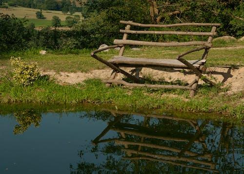 ベンチ, 反射, 木製, 水の無料の写真素材