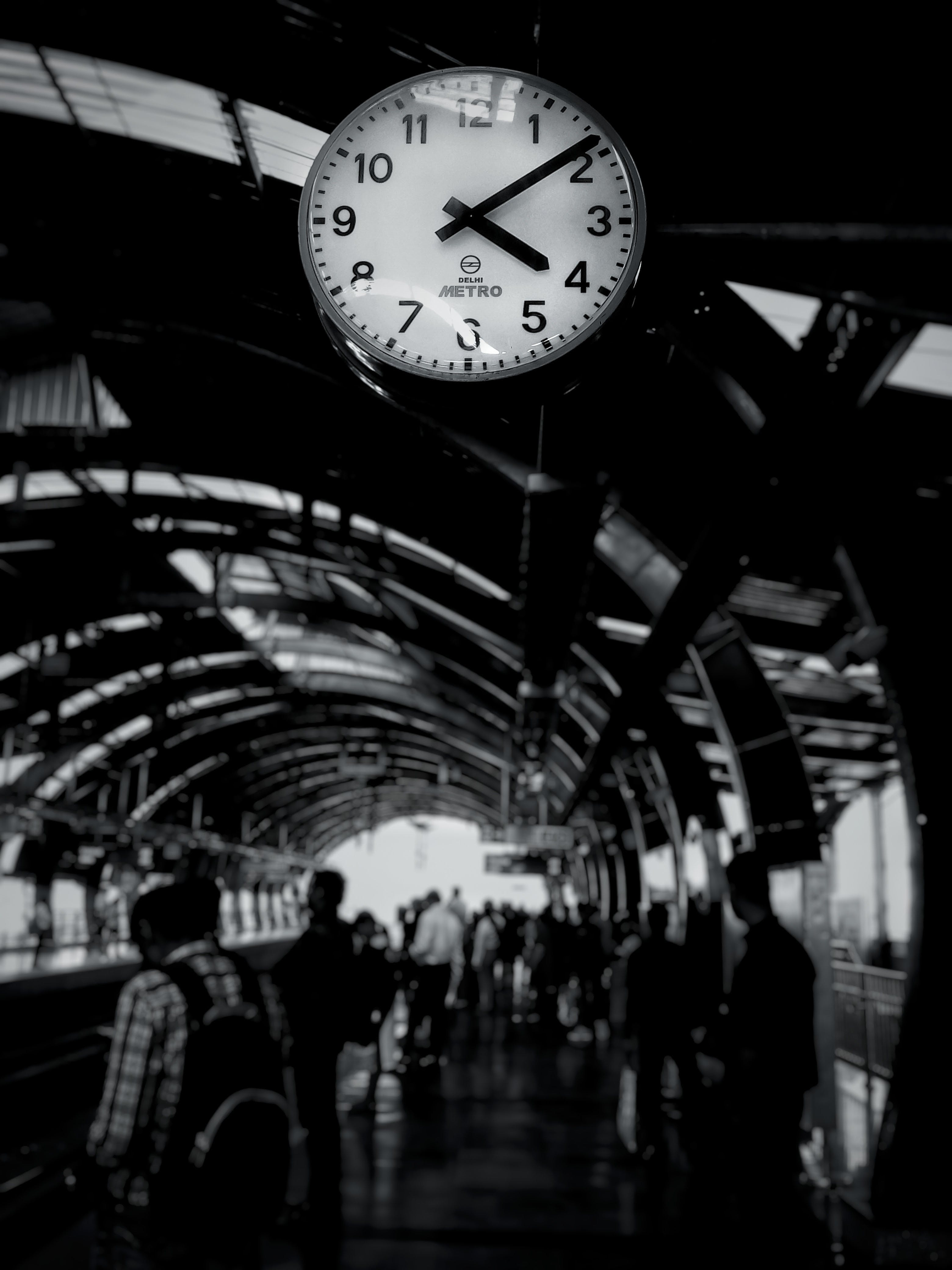 Grayscale Photography of Train Clock Reads at 4:09