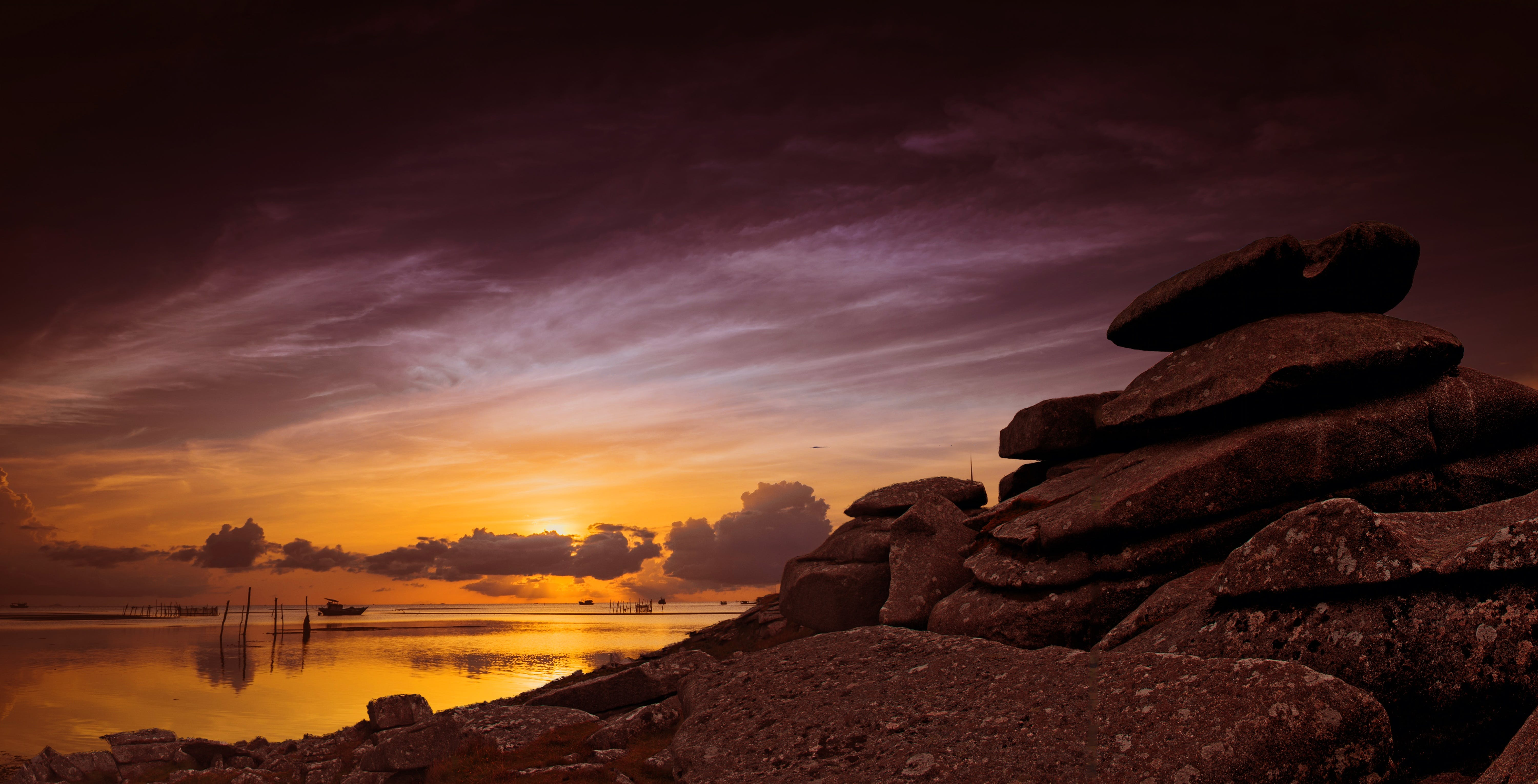 Landscape of Rocks on Sunset