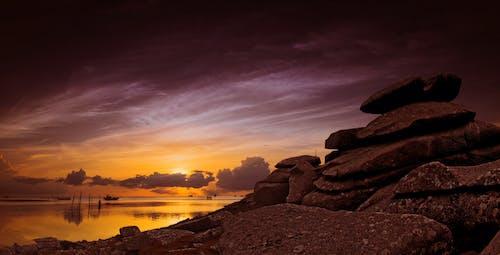 คลังภาพถ่ายฟรี ของ ชายหาด, ตะวันลับฟ้า, ทะเล, ท้องฟ้า