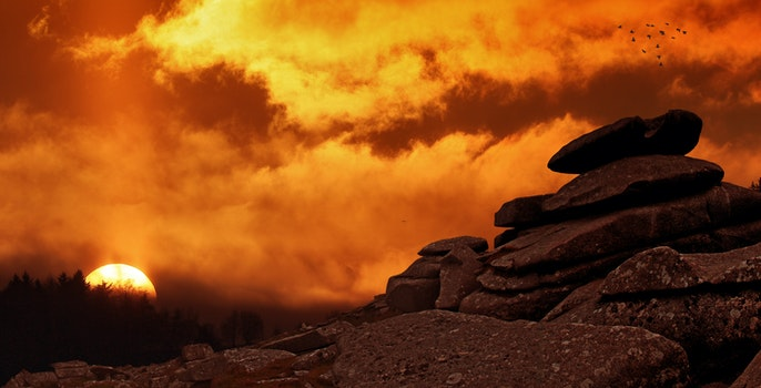 Pile of Rock during Golden Hour