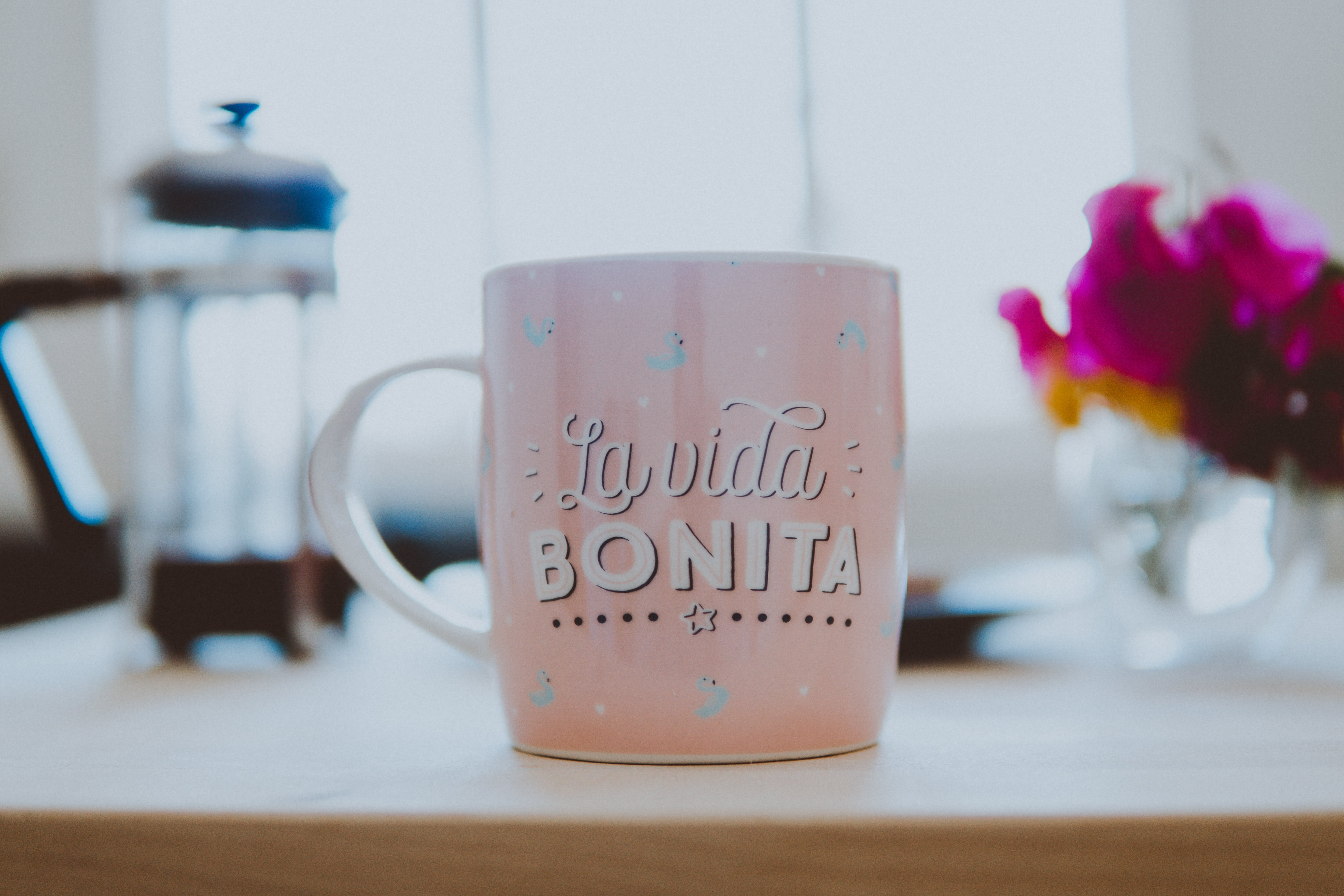 Free stock photo of coffee, cup, morning, pink