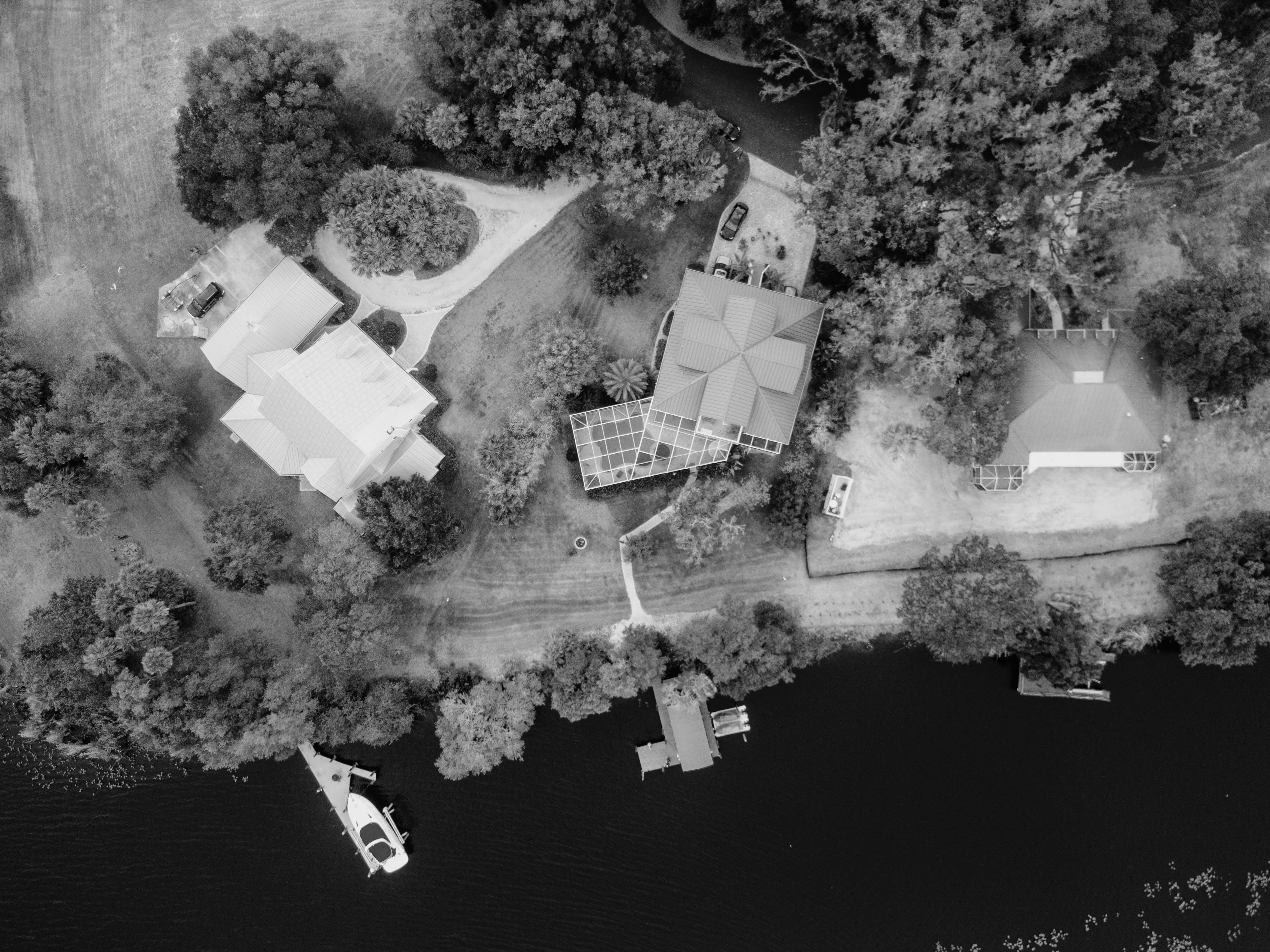 Gratis lagerfoto af arkitektur, båd, fugleperspektiv, huse