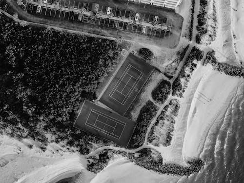 Grayscale Aerial Zdjęcie Beach
