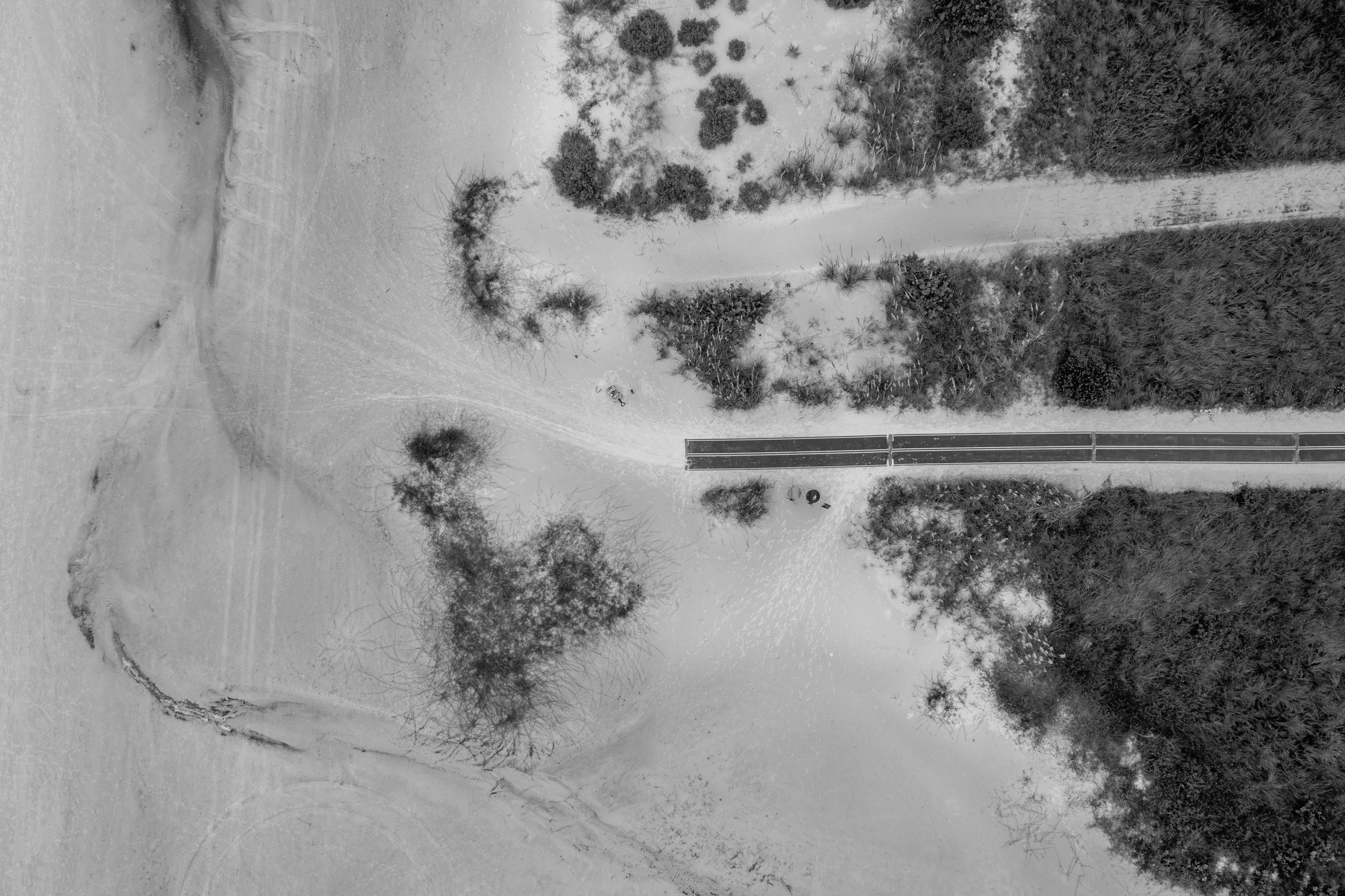 Grayscale Photography of Road in Topview