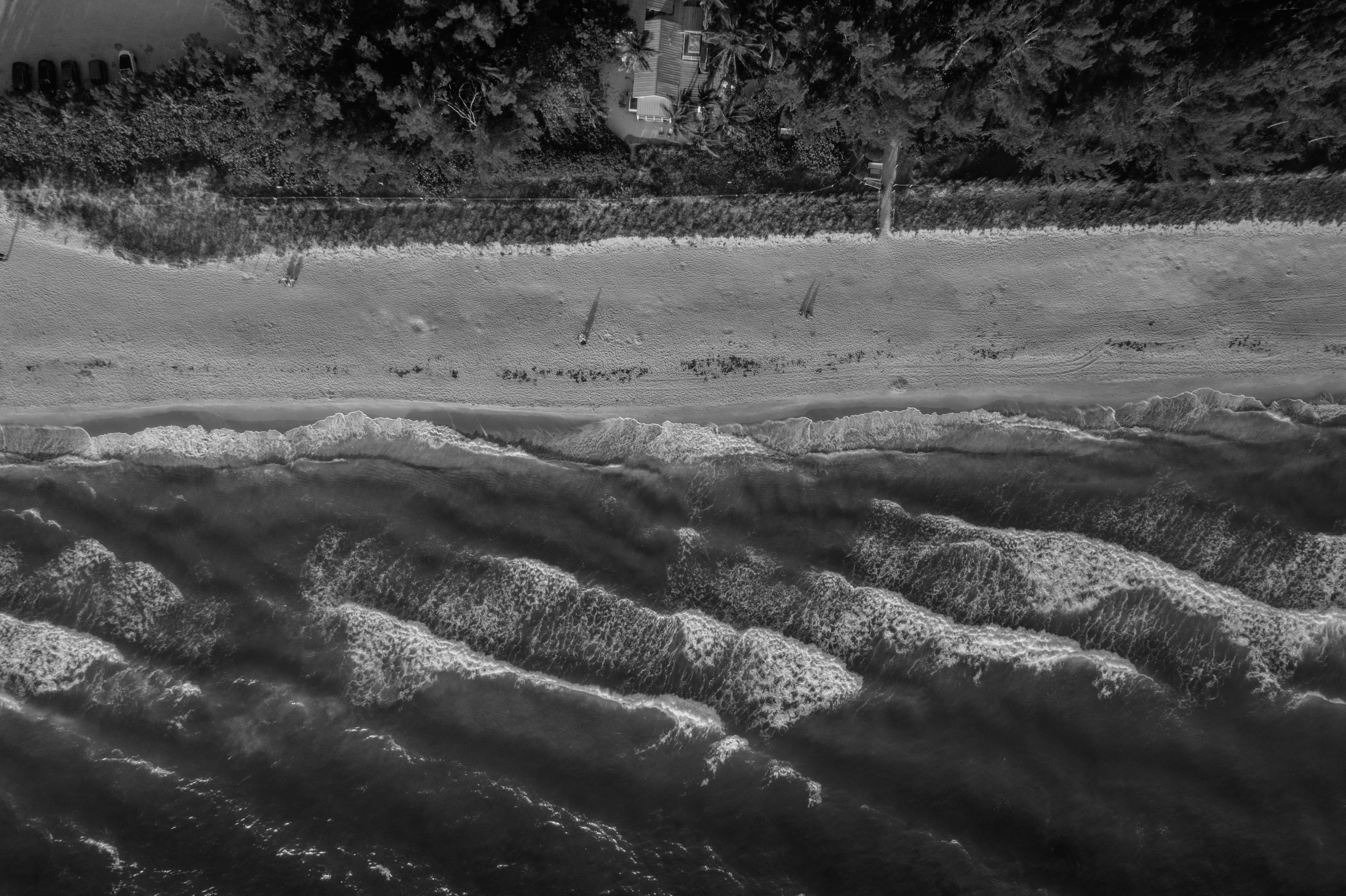 Bird's-view and Grayscale Photography of Body of Water
