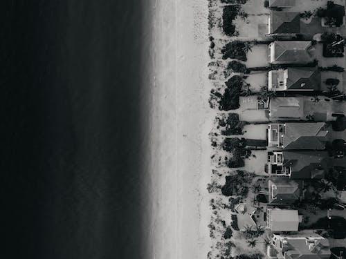 Imagine de stoc gratuită din alb-negru, case, de deasupra, fotografie din aer