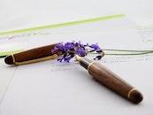 flowers, pen, writing