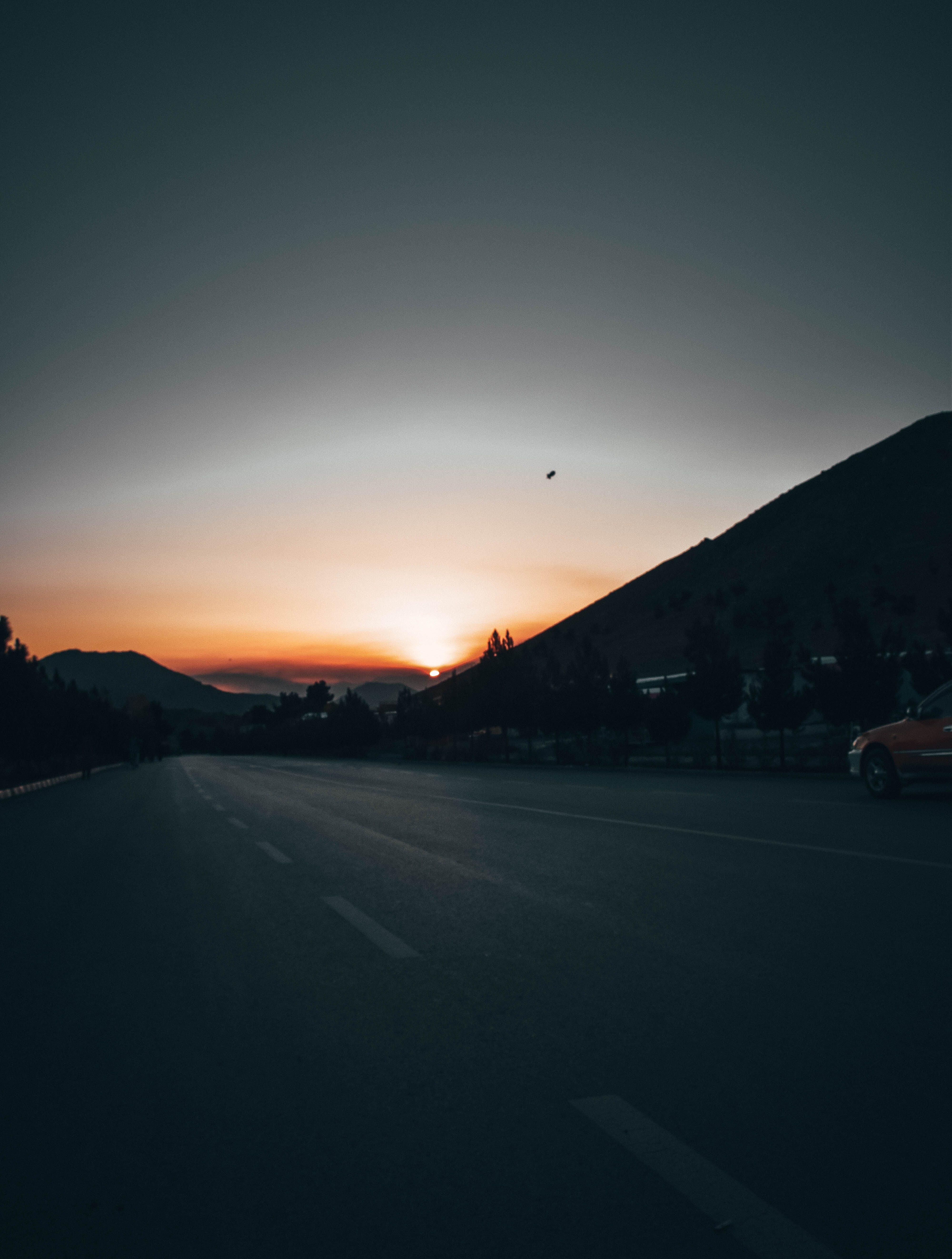 Empty Road Under Golden Hour