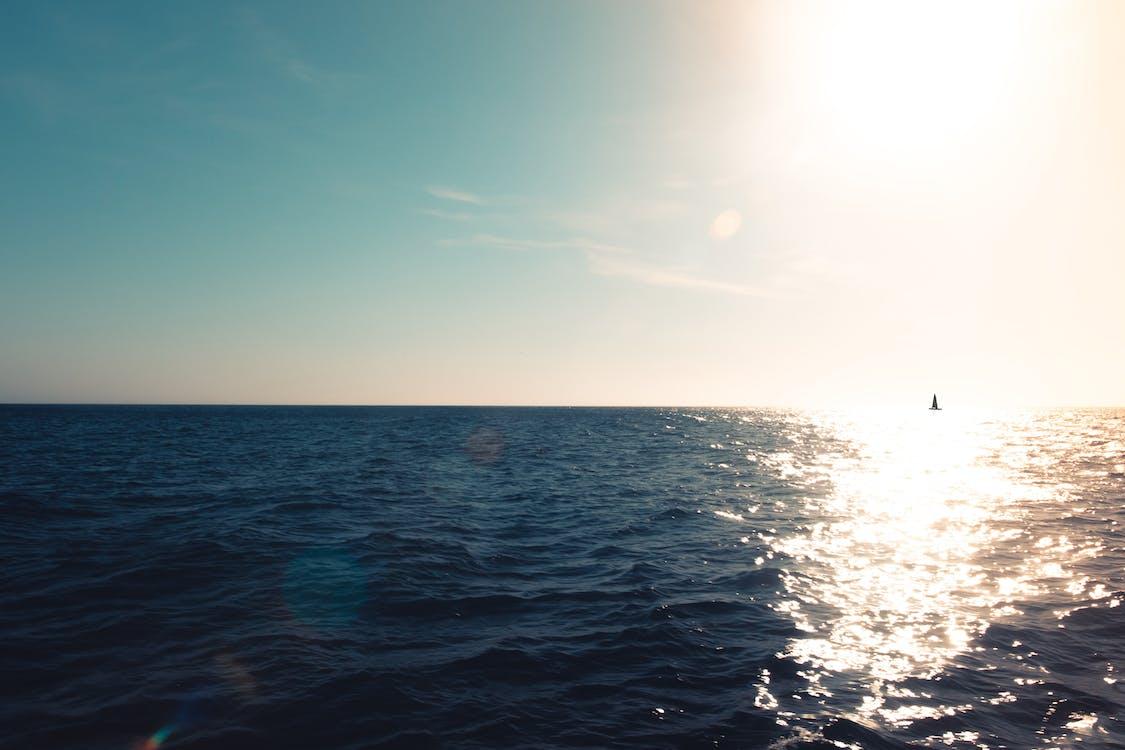 agua, amanecer, barca