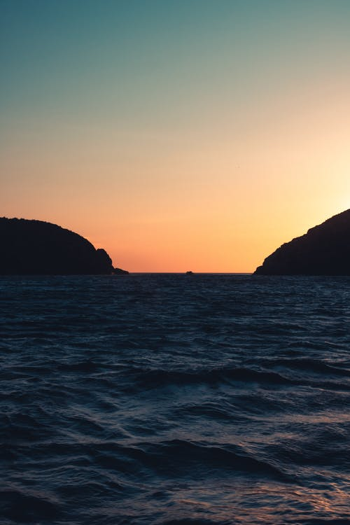 Free stock photo of beach, boat, gradient, mountains