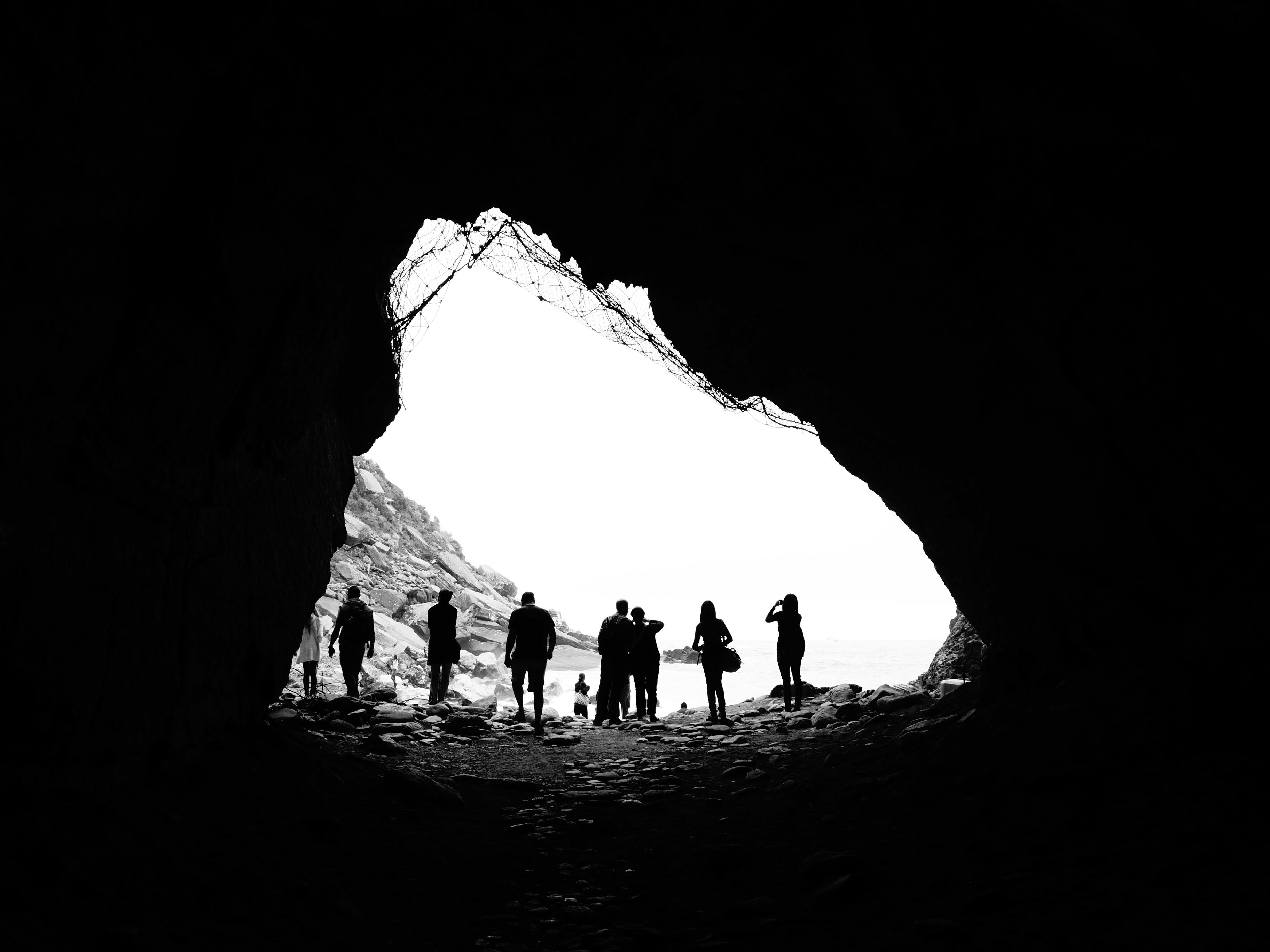 Free stock photo of black and white, cave, lookout