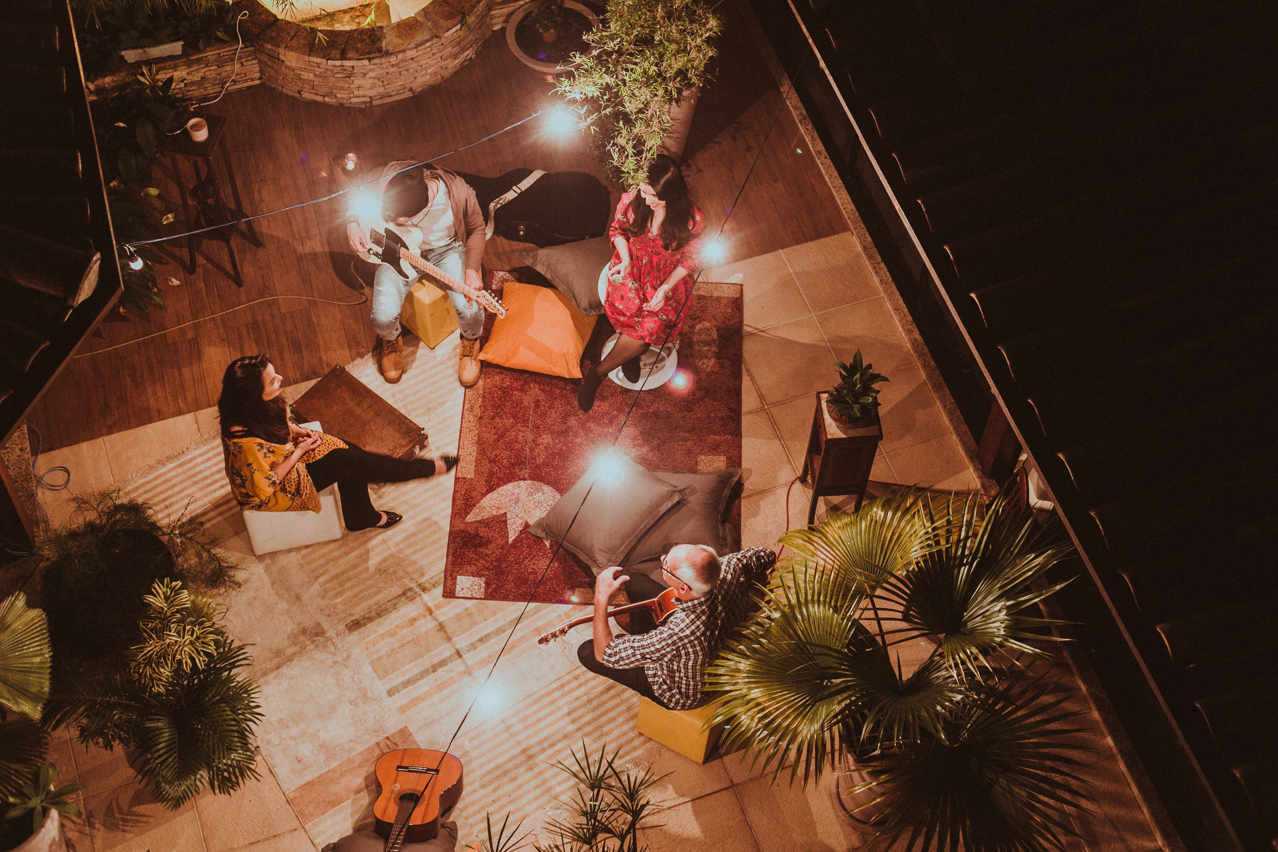 Free stock photo of bird's eye view, people, lights, party