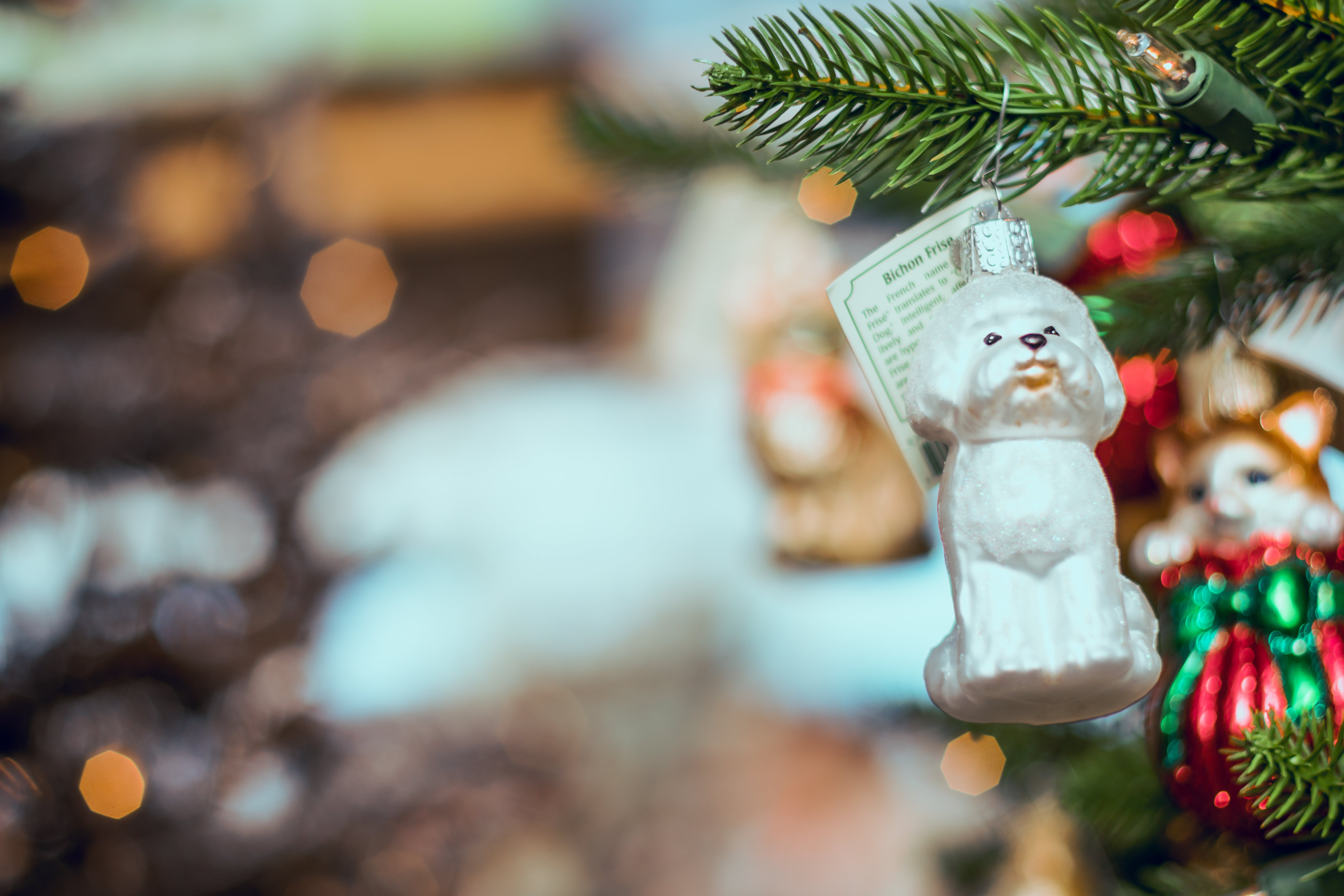 White Dog Bauble Hanged on Christmas Tree