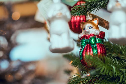Selective Focus Photography of Brown Cat Christmas Bauble