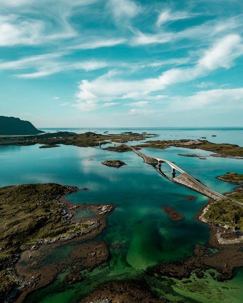 Бесплатное стоковое фото с Аэрофотосъемка, бирюзовый, вид сверху, вода