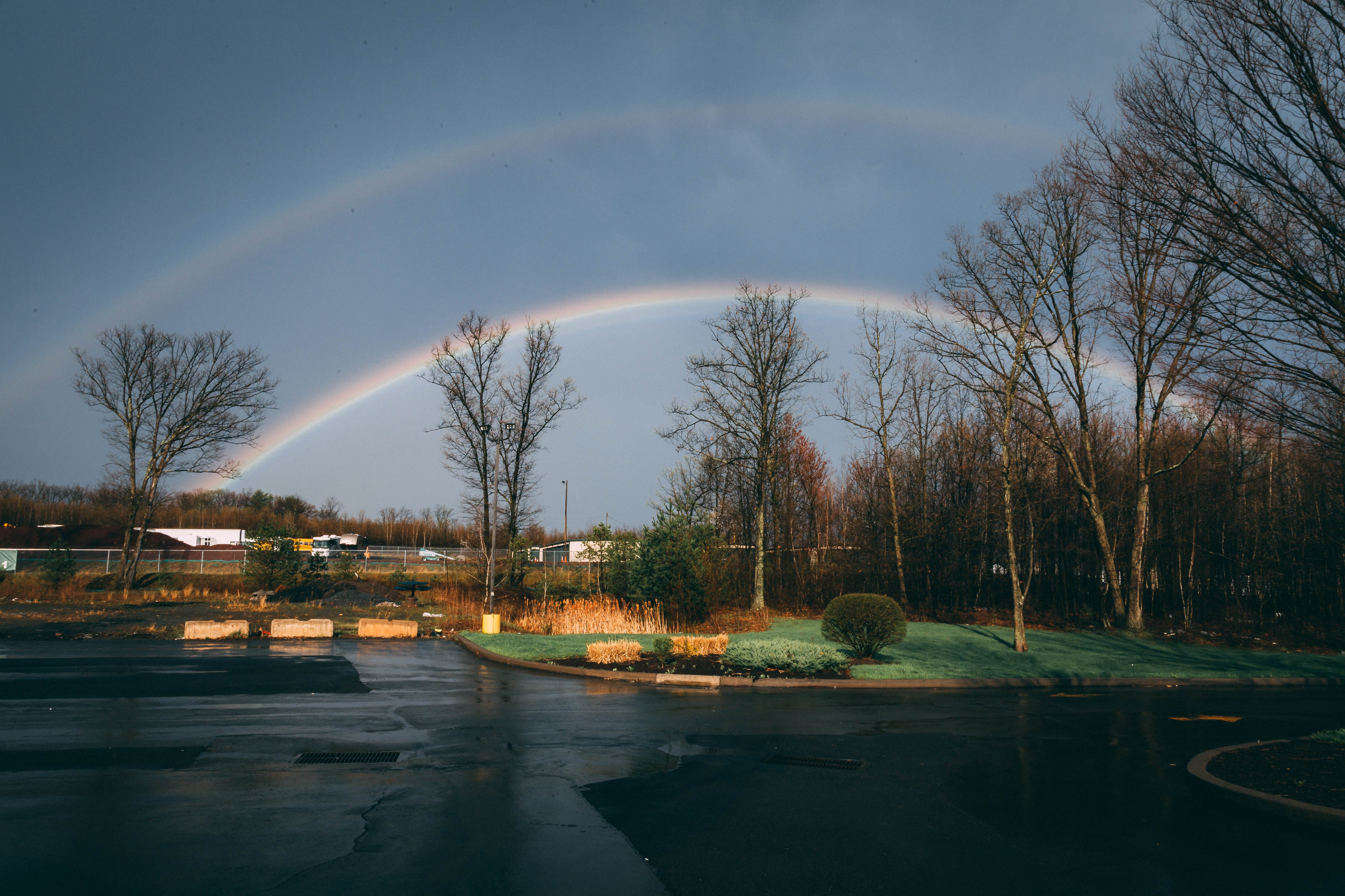 Rainbow over Houses and Trees