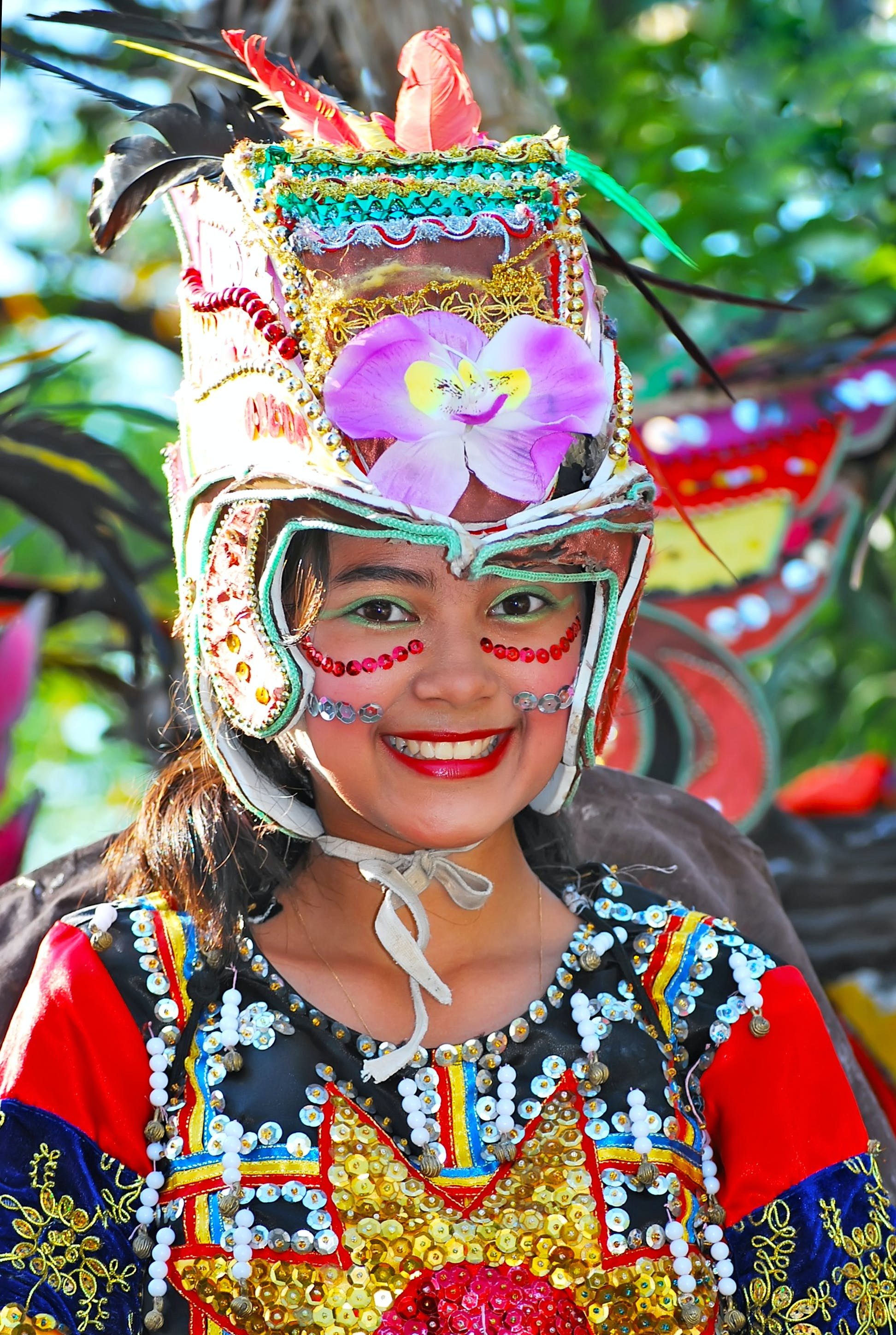 Smiling Girl Wearing Tribal Costume
