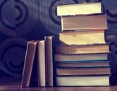books, vintage, stack