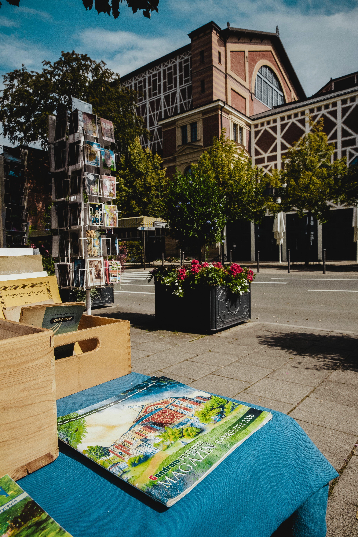 Green Book Beside Brown Wooden Bin on Table
