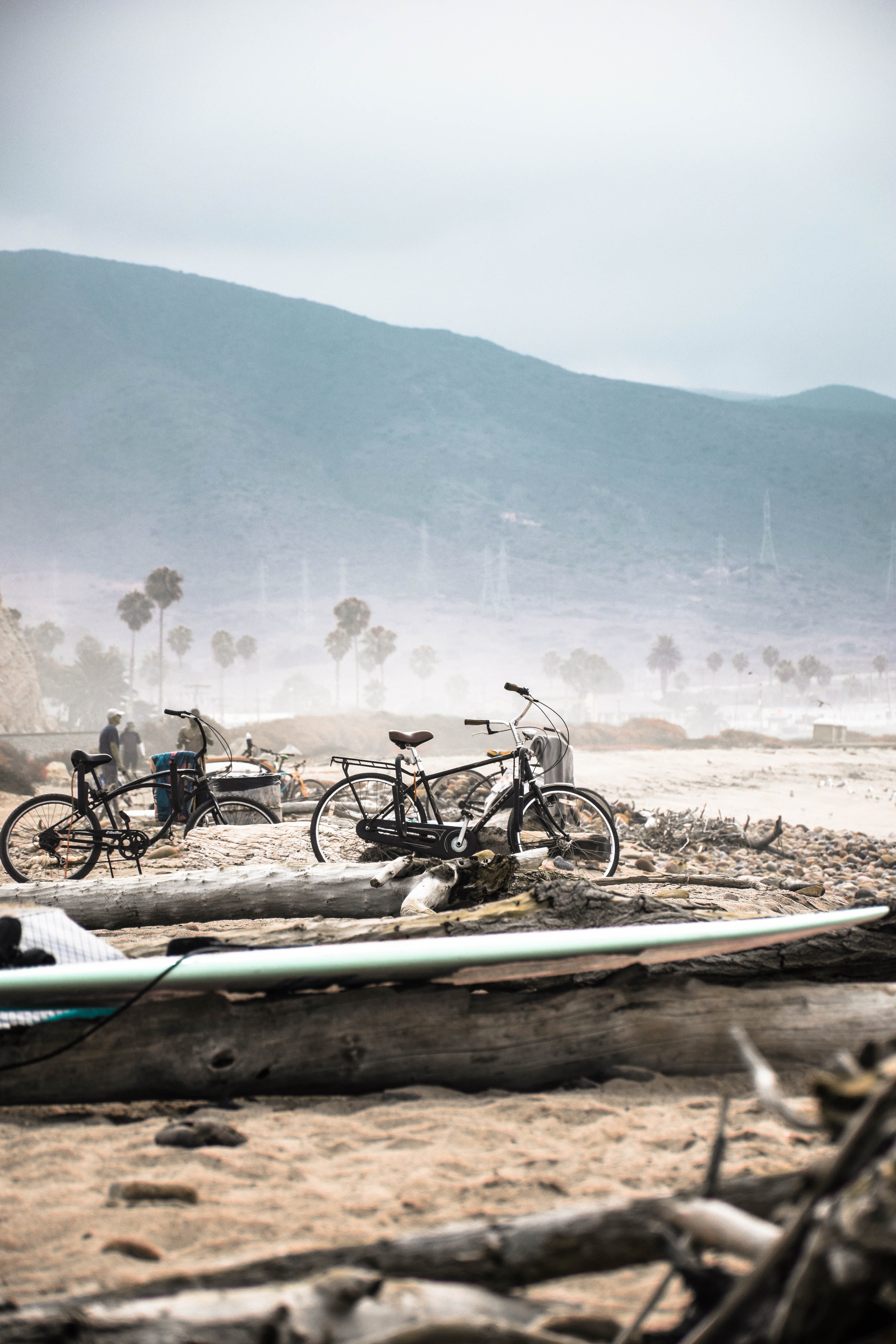 Two Bicycle Parked Beside Log Near Shore