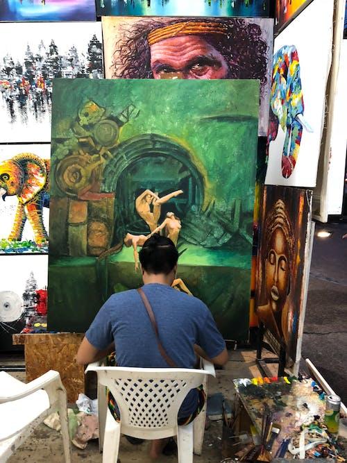 Gratis stockfoto met artiest, beurs, binnenshuis, canvas