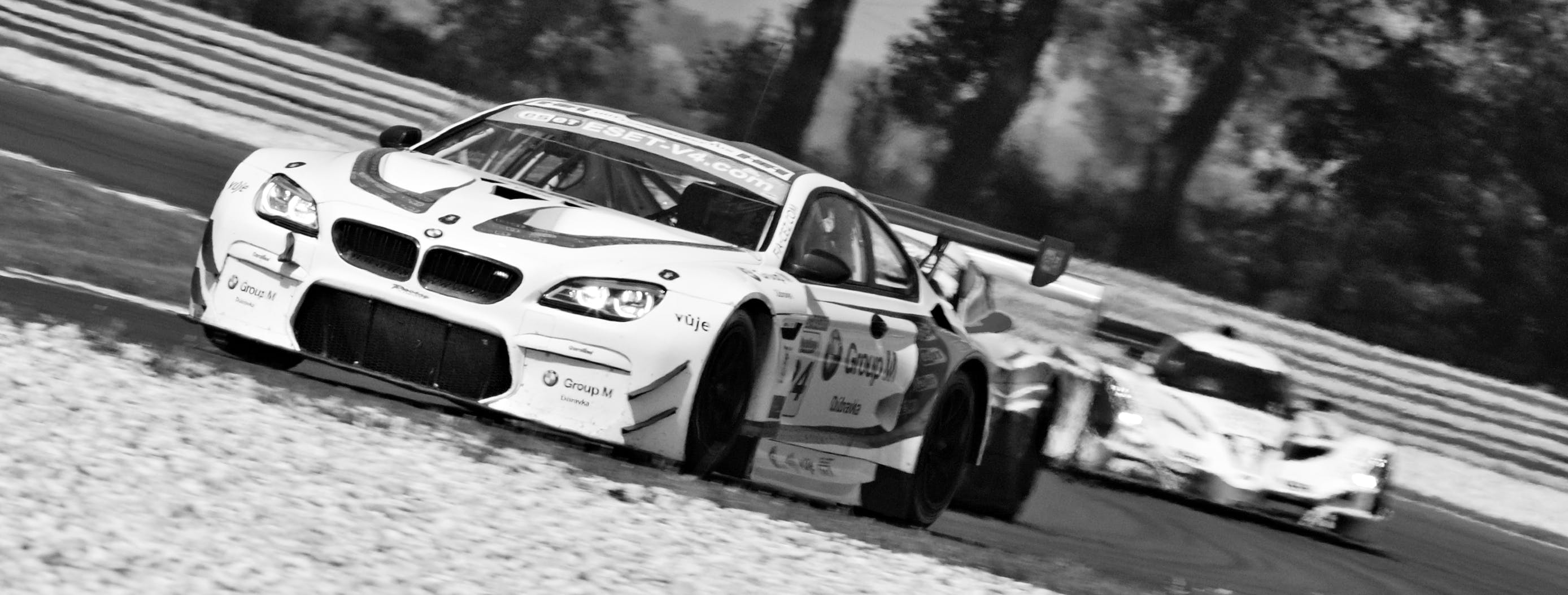 of black-and-white, bmw m6, car, motor racing