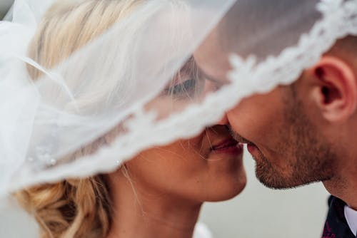 Groom and Bride Kissing