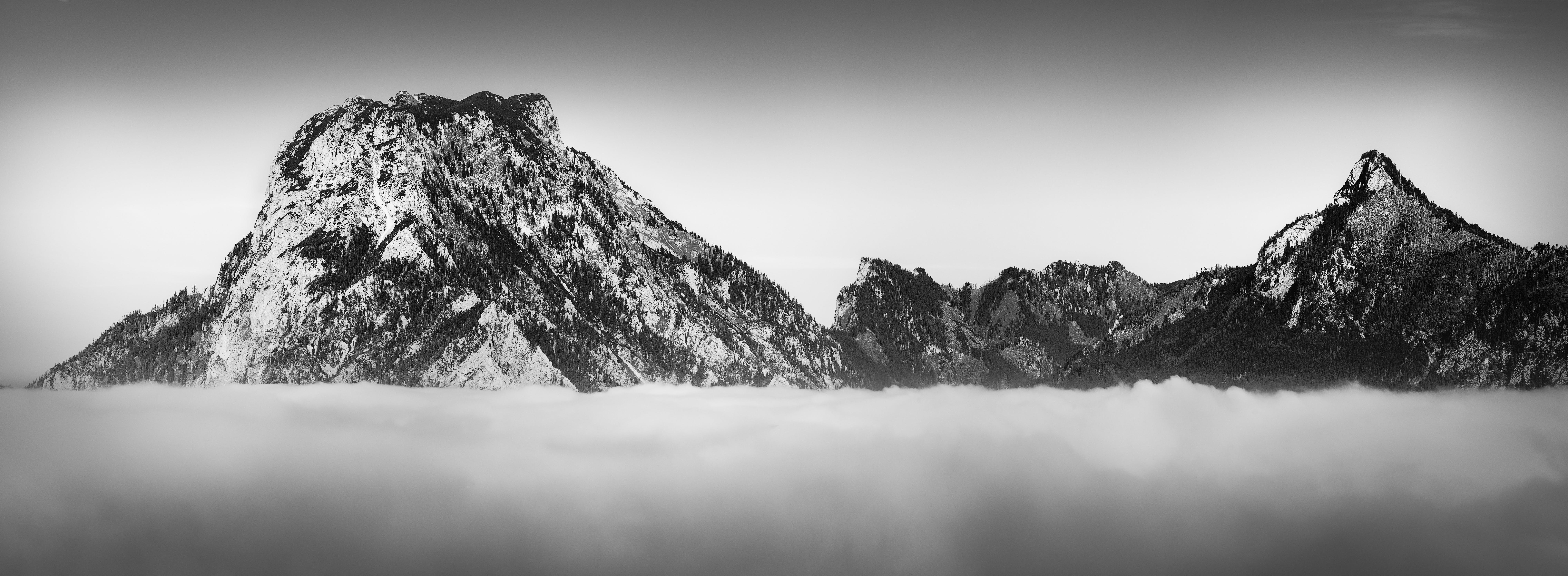 Grayscale Photography of Rock Mountains