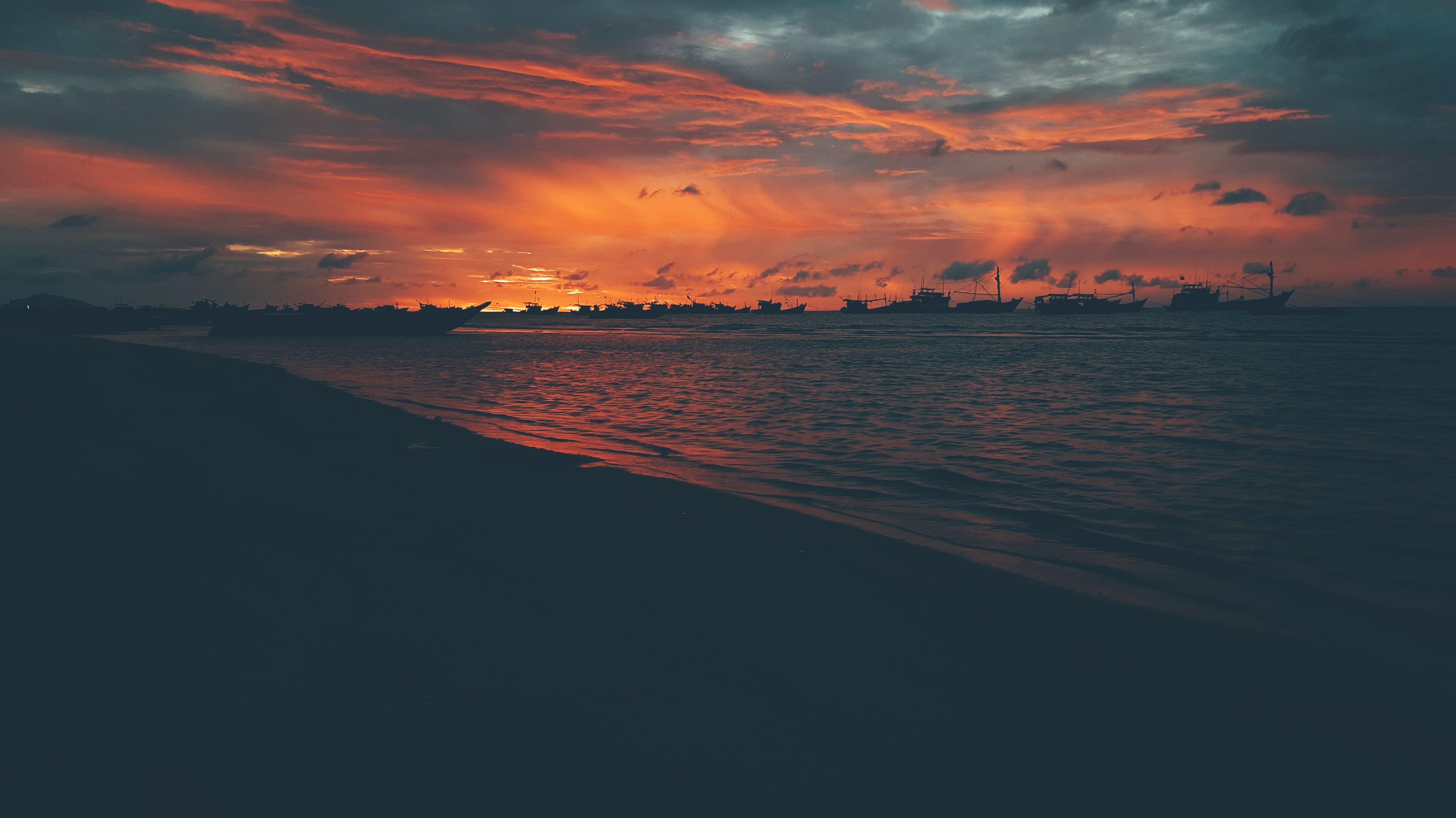 moře, oceán, oranžová obloha