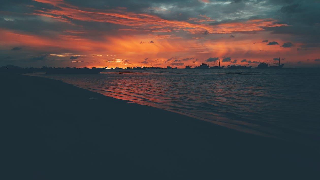 aften, gyldne horisont, hav