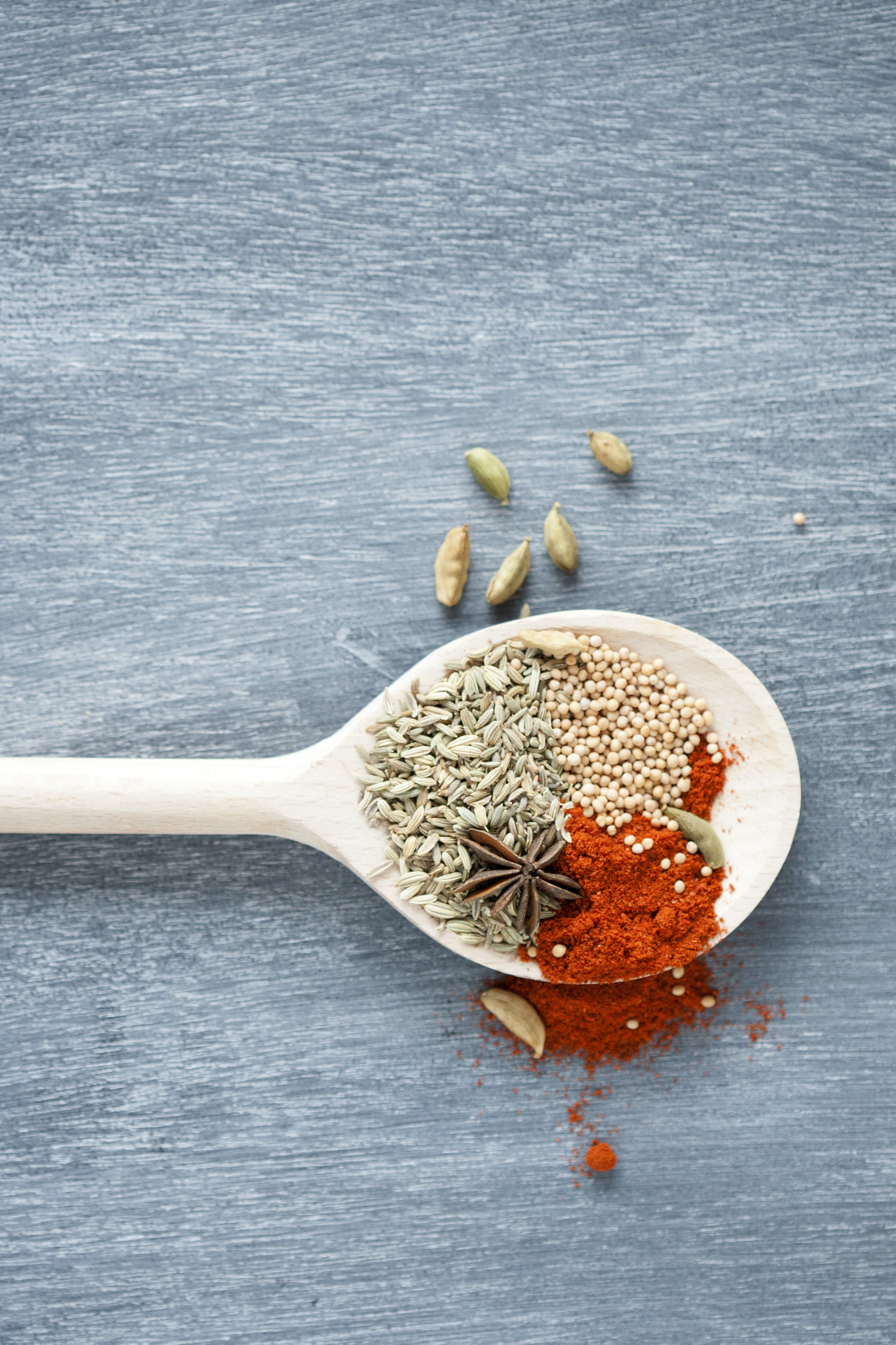 Spices On Brown Wooden Ladle