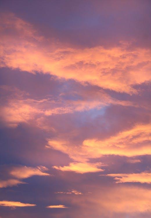 aftenhimmel, appelsin, dagslys