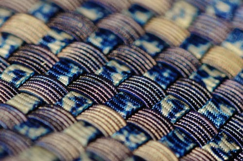 Blue Black and Gold Woven Textile