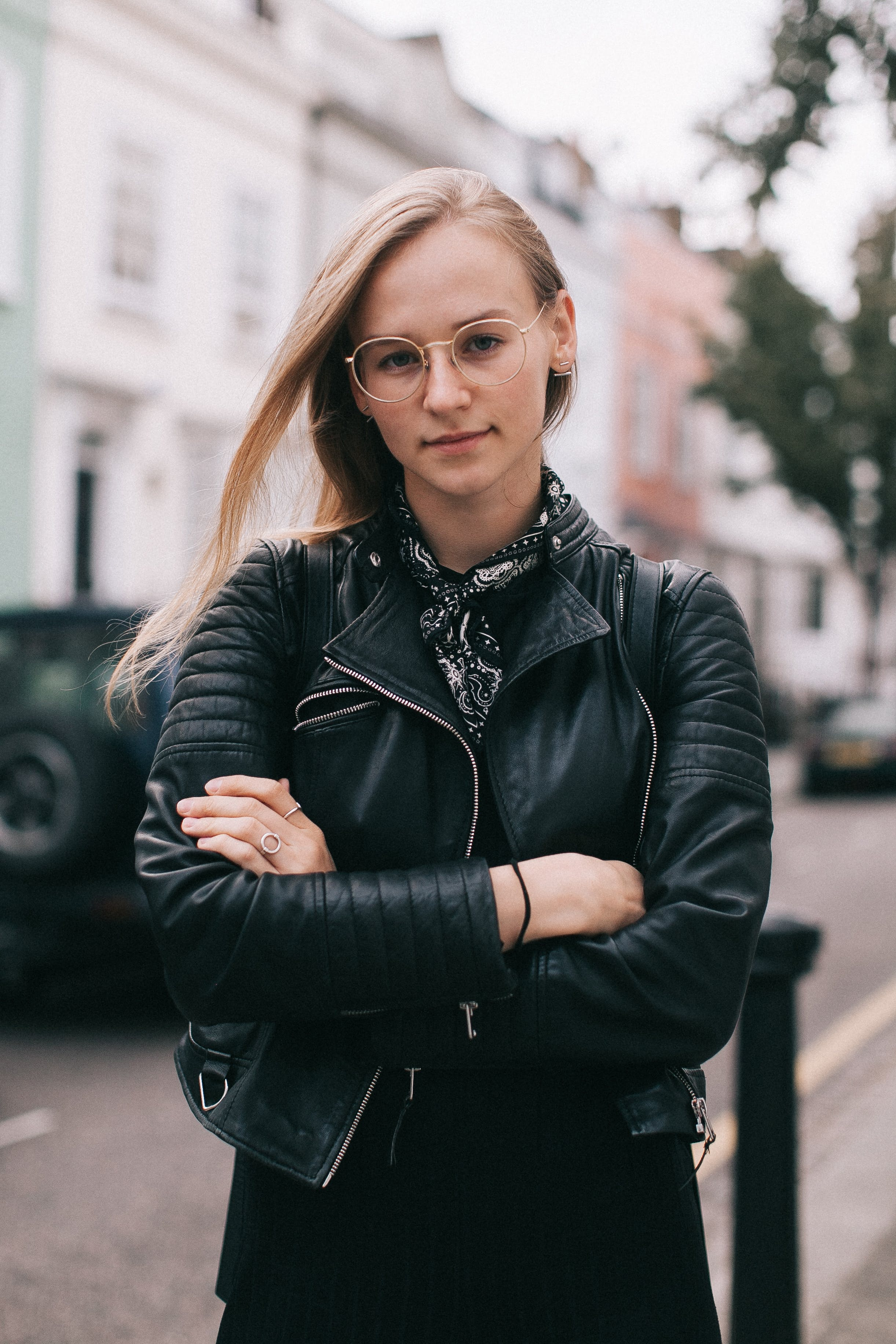 Woman in Black Leather Jacket Cross Arms