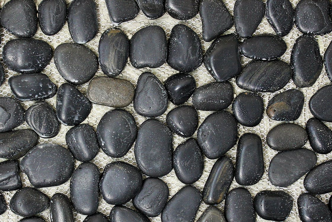 kameny, mokrý, oblázky