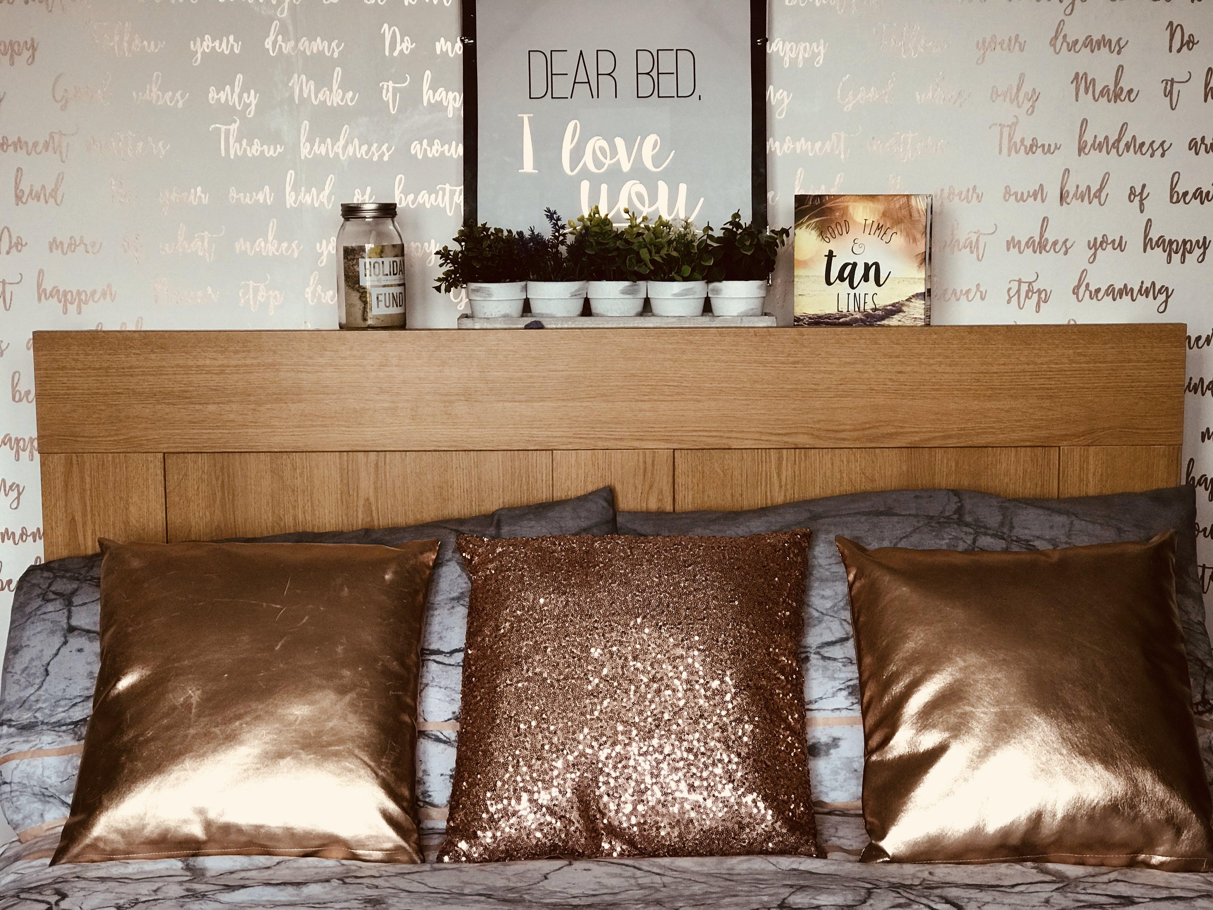 Three Brown Throw Pillows