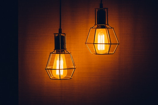 2 Pendant Lamps Turned on