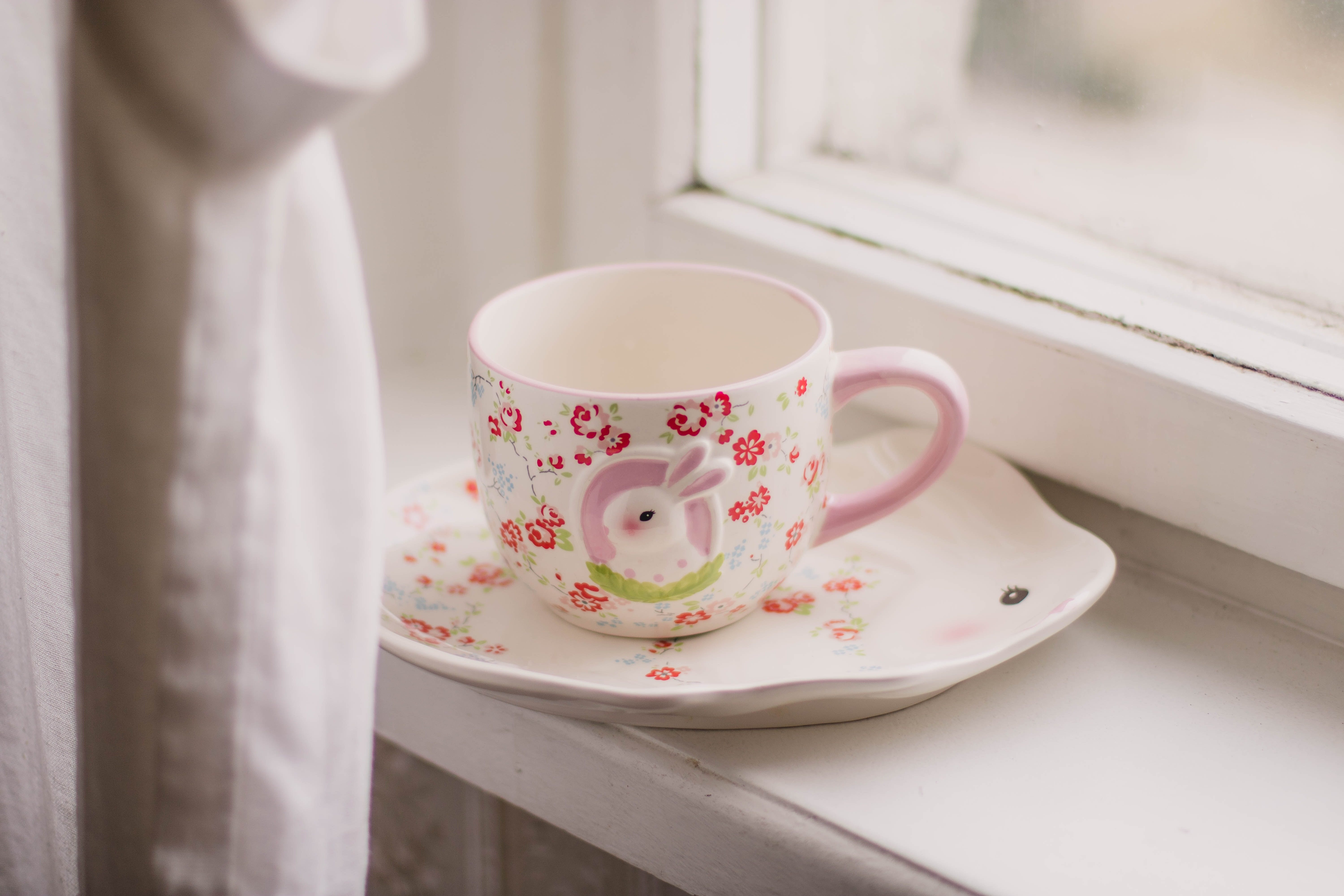 White and Pink Rabbit Themed Ceramic Cup and Saucer