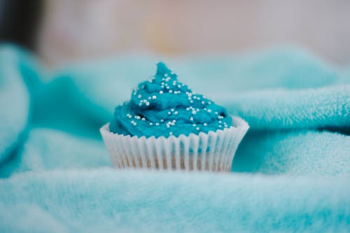 Cupcake Topped With Blue Icing