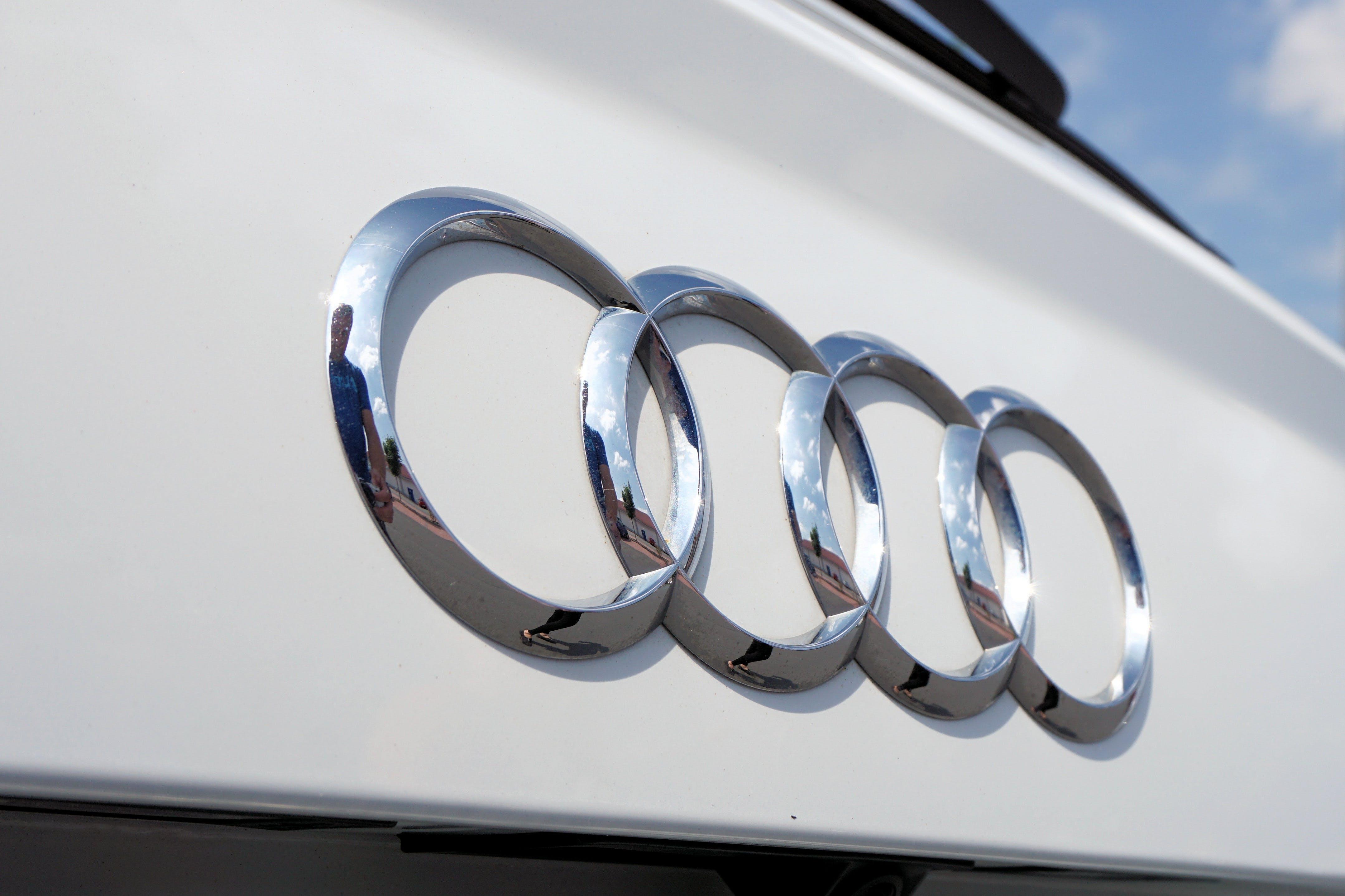 Silver Audi Car Emblem