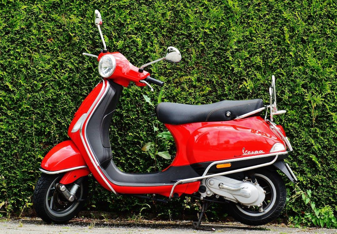 araç, kırmızı, moped
