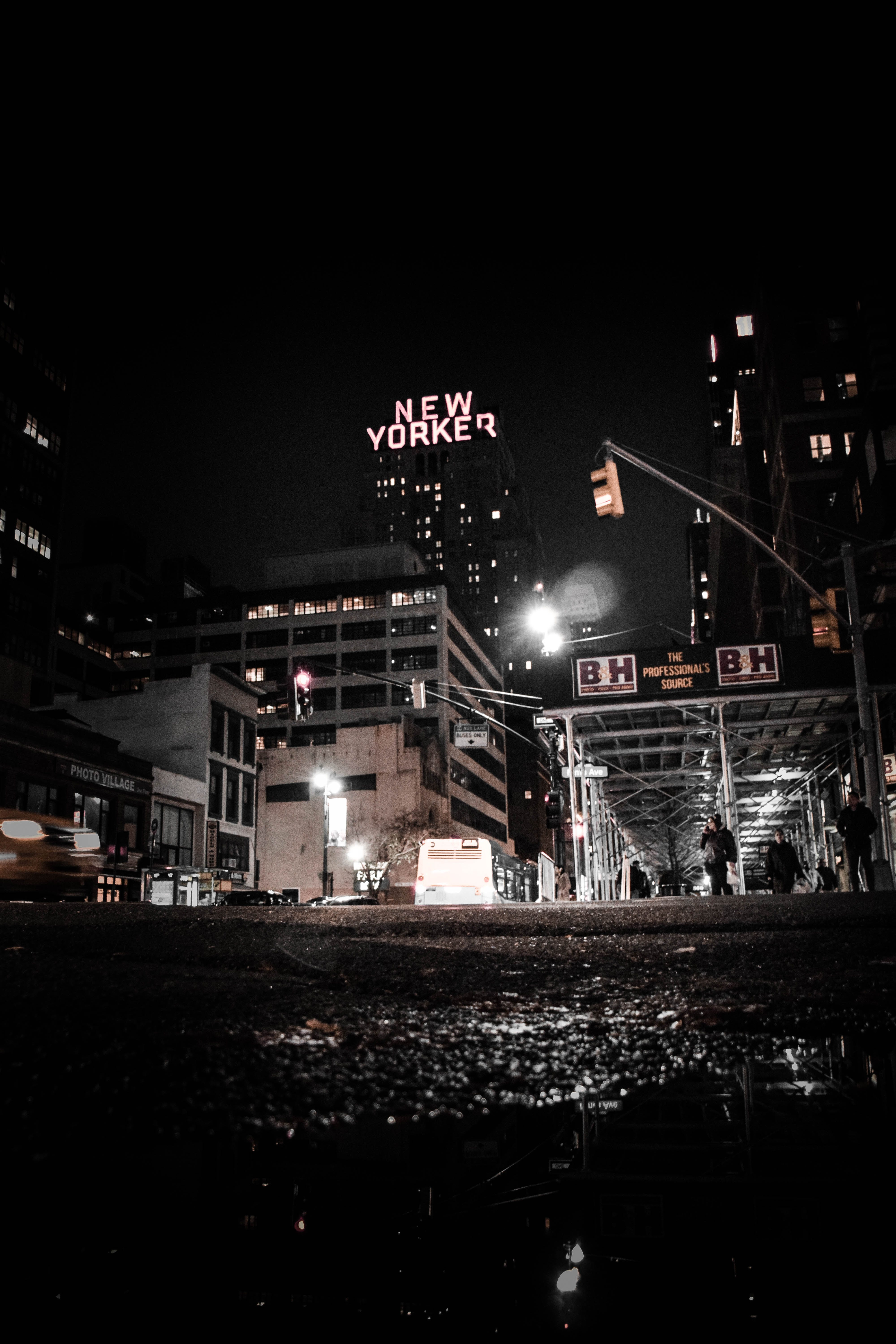 New Yorker Sign at Night