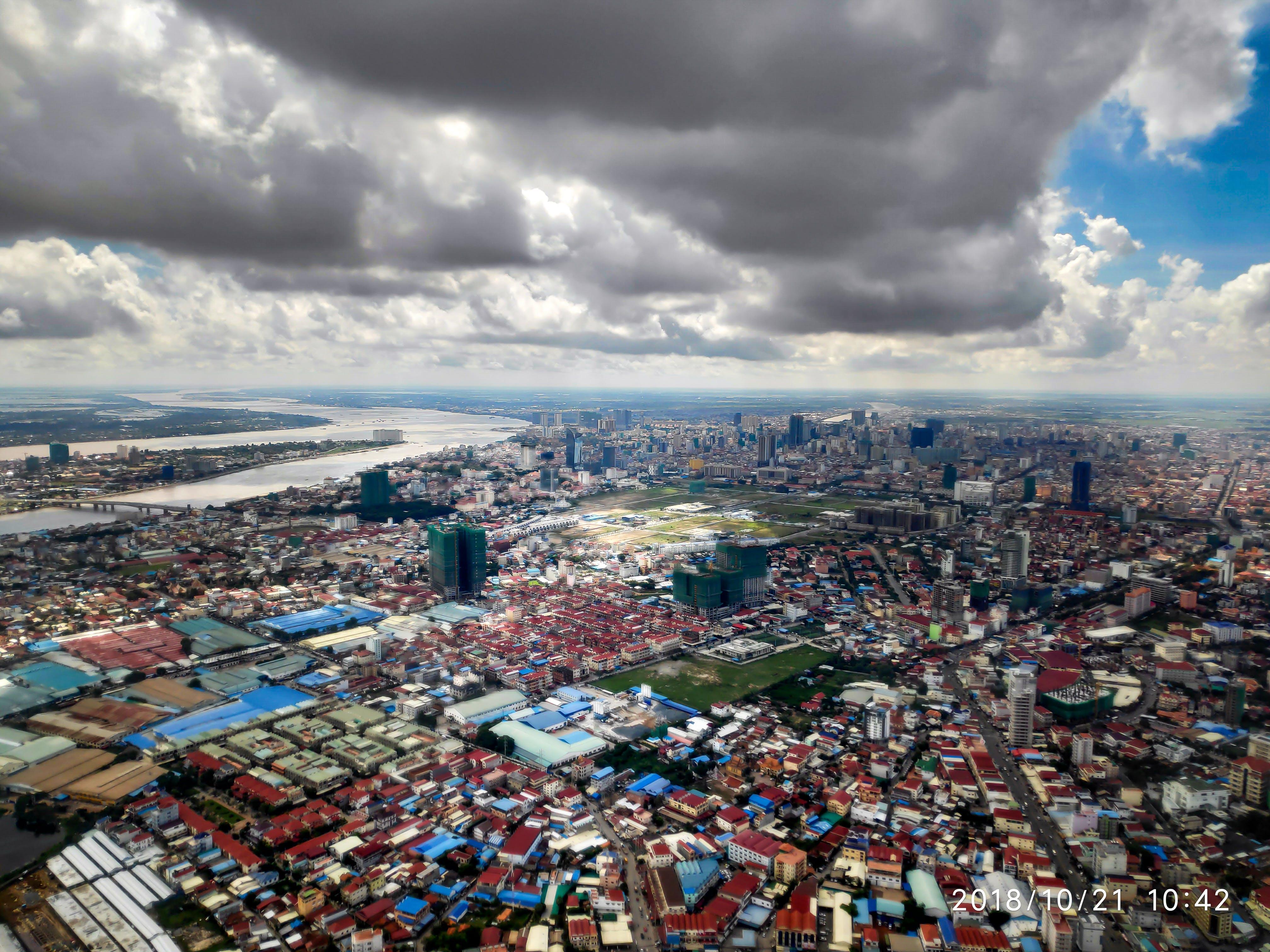Free stock photo of Ariel view of Phnom Penh City, Mekang river