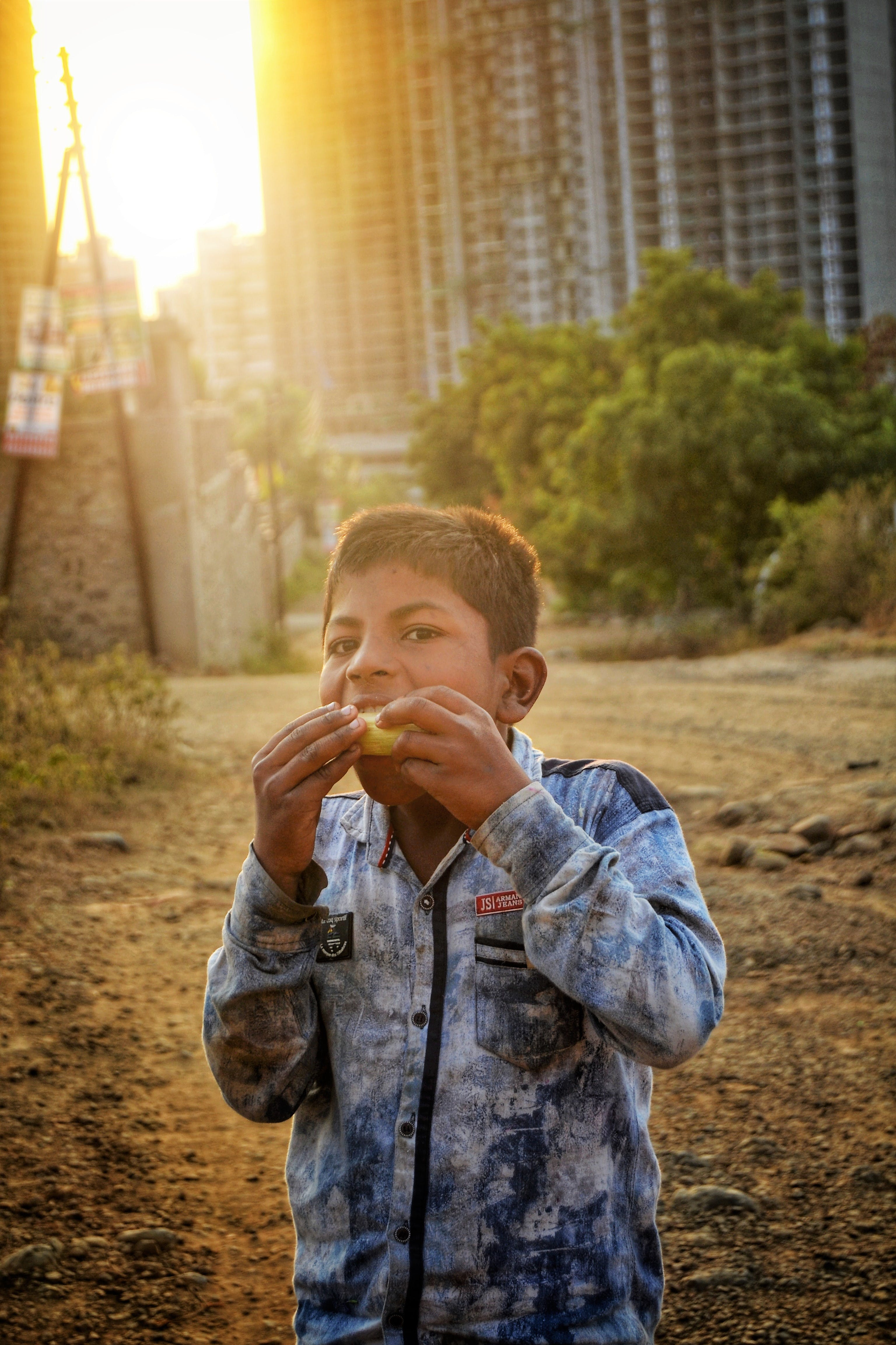 apartment buildings, asian child, background