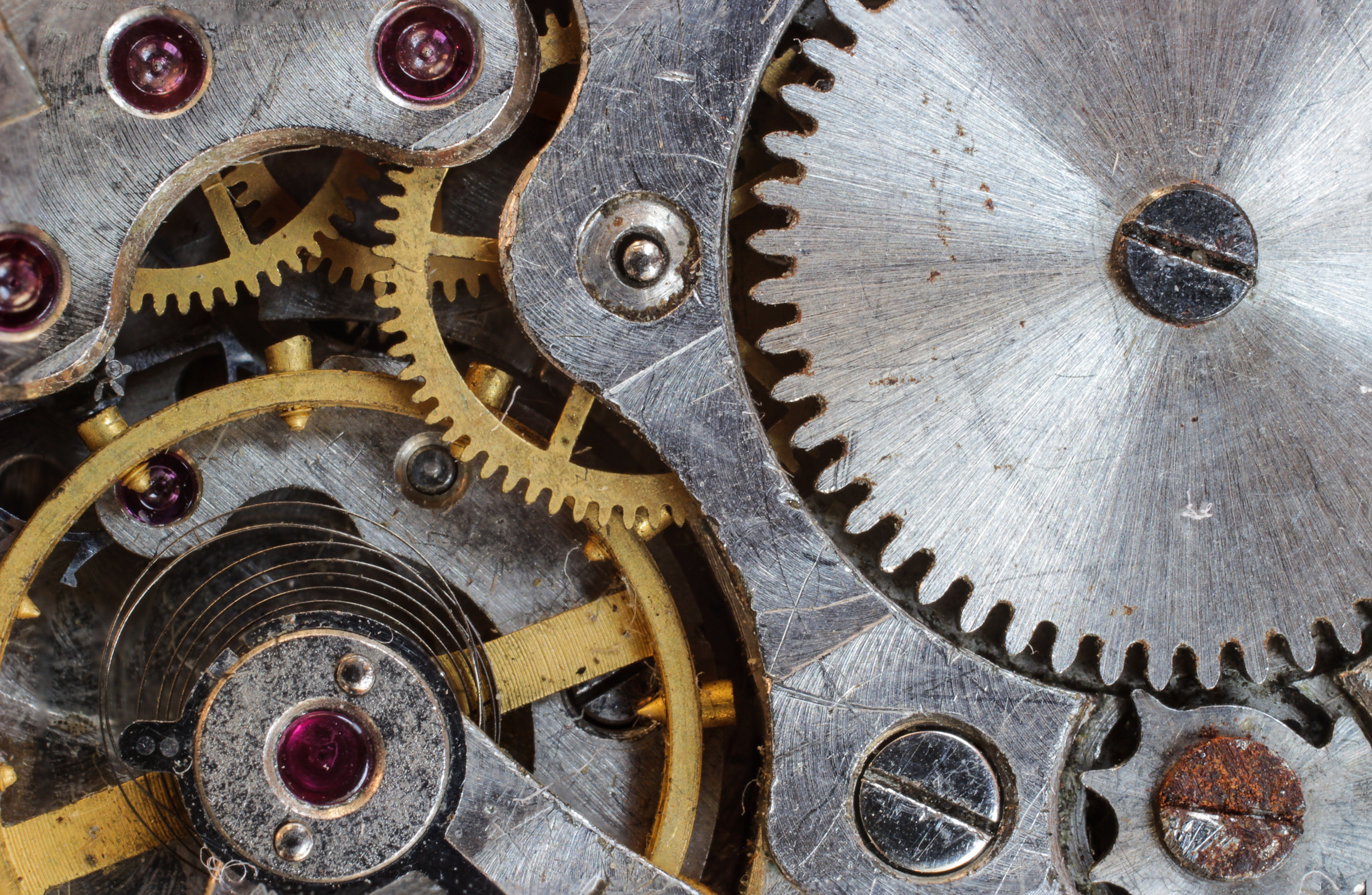 Gray and gold steel gears free stock photo - Mecanismo para reloj de pared ...