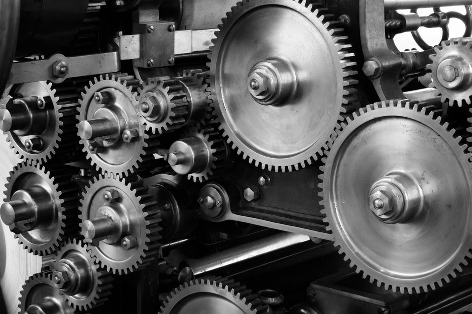 Gray Scale Photo of Gears