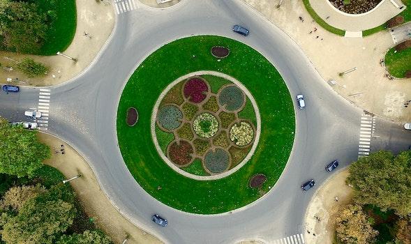 Free stock photo of aerial, street photo, drone, atomium