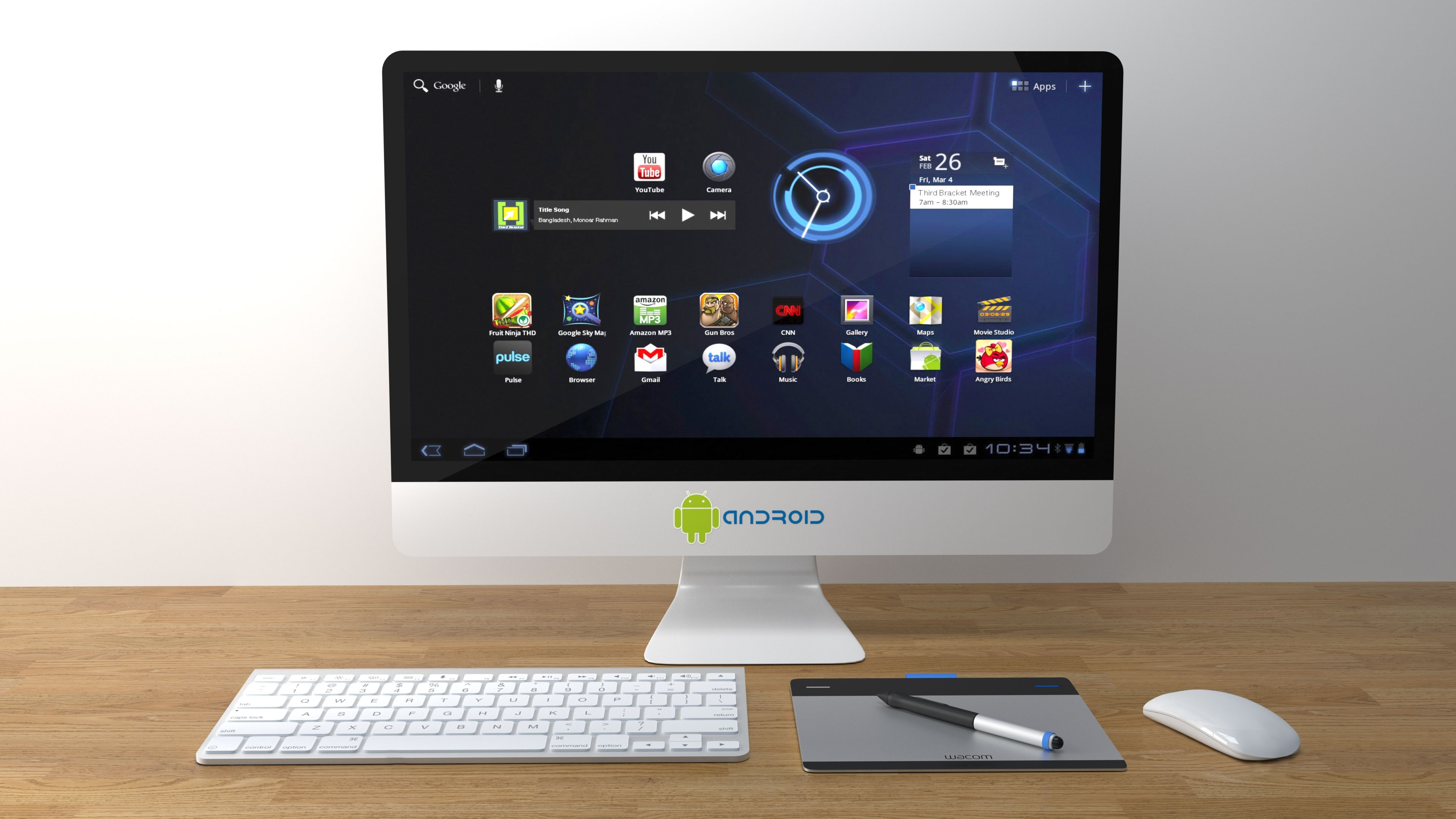 white android computer monitor turned on free stock photo