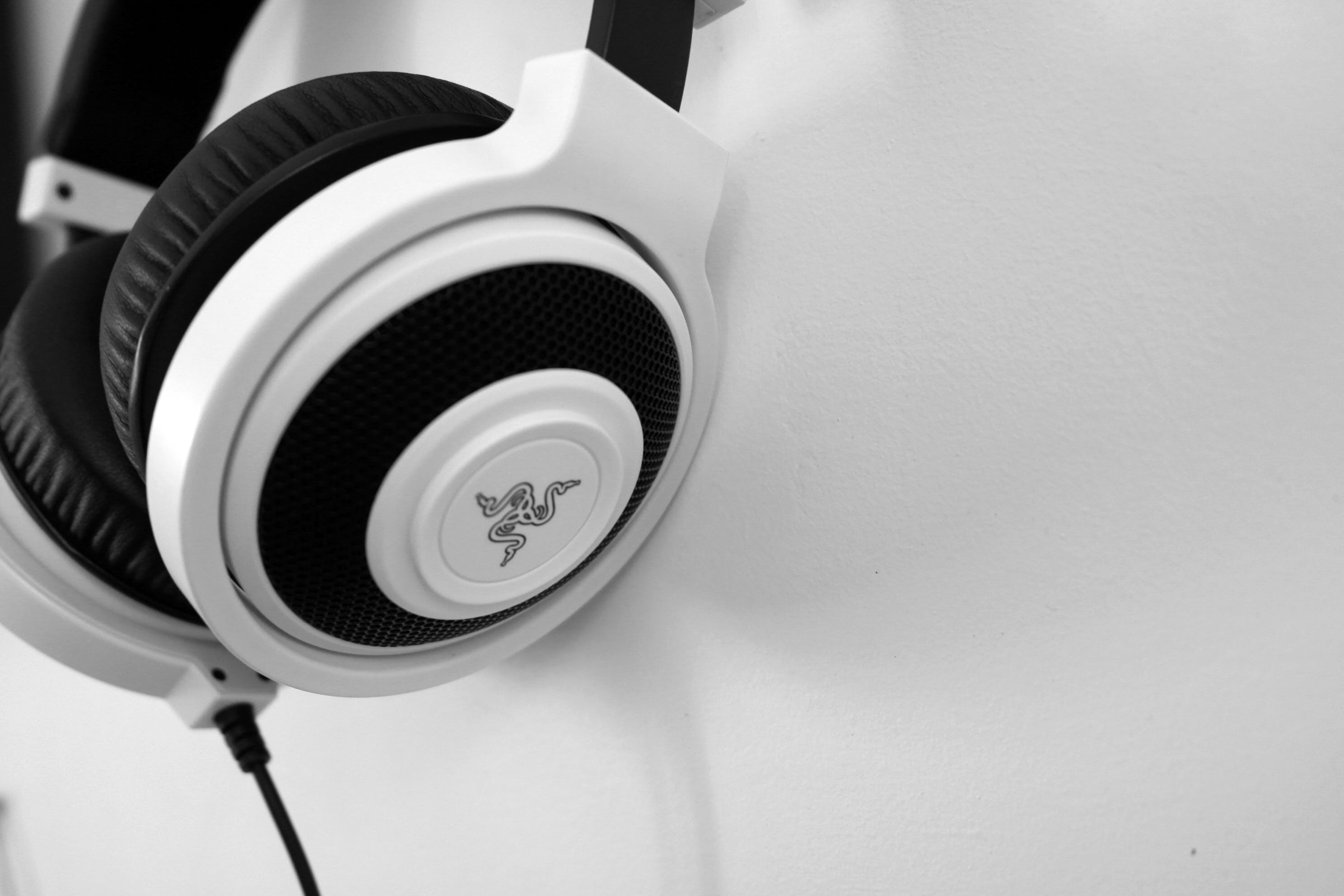 Razer White and Black Corded Headphones